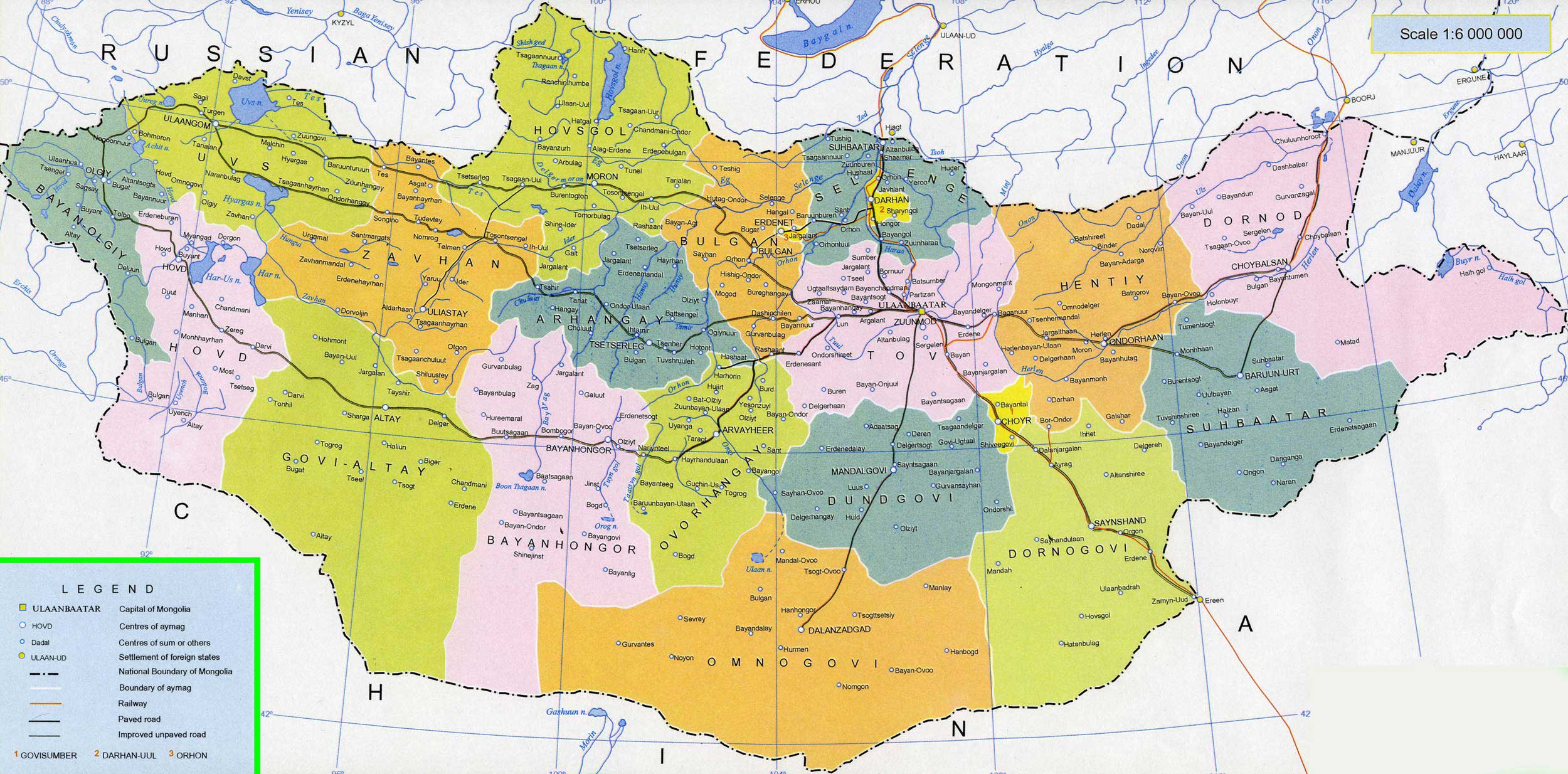 Curso Mongolia - Mapa Mongolia político