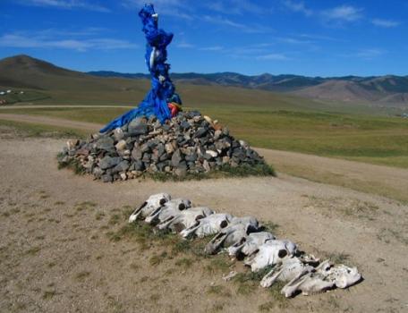 Ovoo and horse skulls Kharkhorin Mongolia